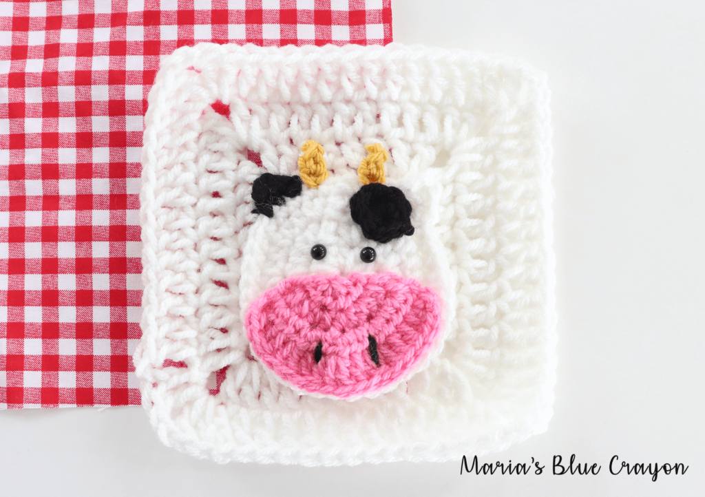 crochet cow applique on granny square