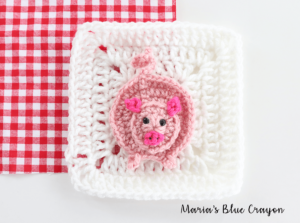 crochet pig applique
